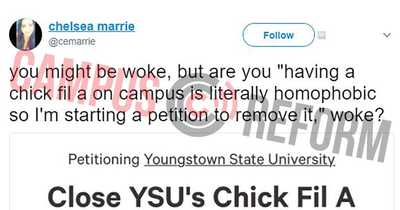 Youngstown State students say late-night chicken is homophobic - A petition is demanding that Youngstown State University the Chick-fil-A on campus, saying access to late-night chicken adds to the negative experience of LGBT students. Noting that the Chick-fil-A is the only place to get food in the evenings, the Change.org petition complains that while the restaurant chain has apologized for statements by its founders regarding members of the LGBT community, the business is still donating money to anti-LGBT organizations. [RELATED: - MadSPace 2017 Daily Alternative Conservative Controversial Conspiracy News